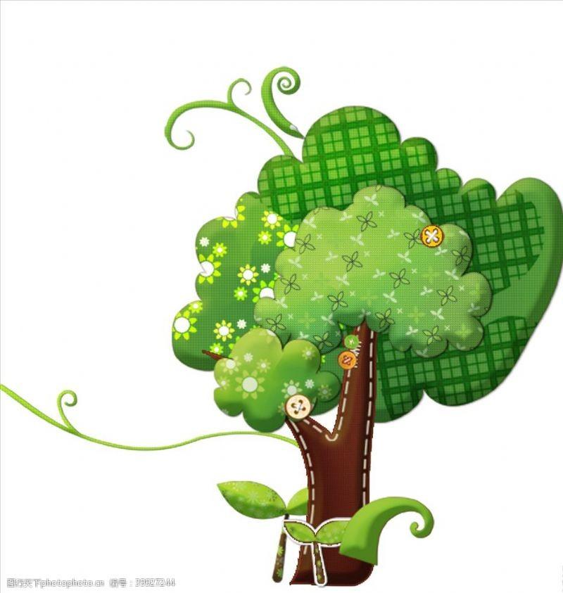 大树设计绿色卡通小树图片