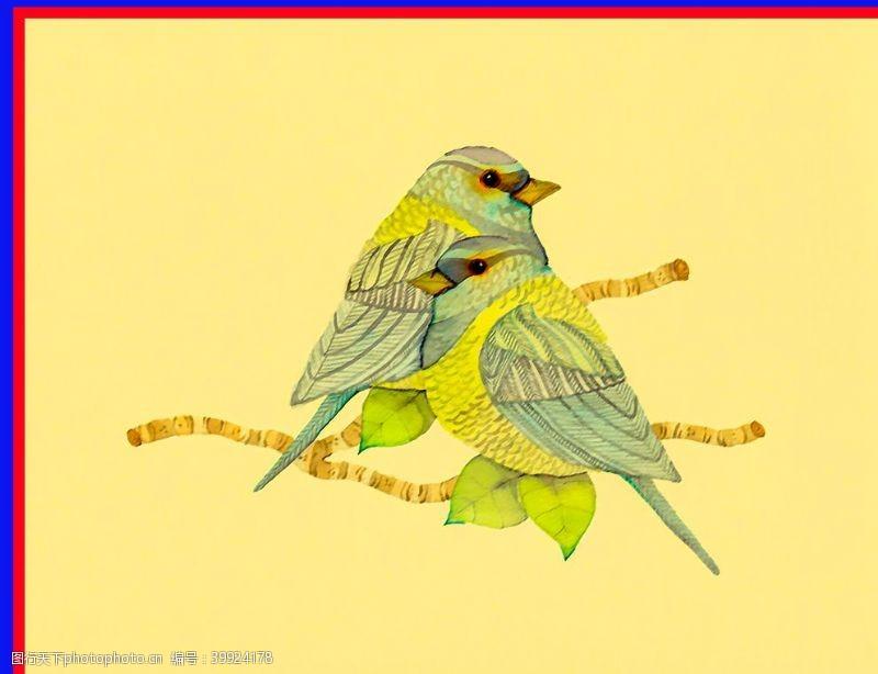 线稿鸟树枝图片