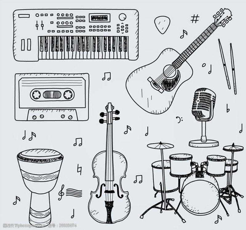 磁带手绘乐器设计图片