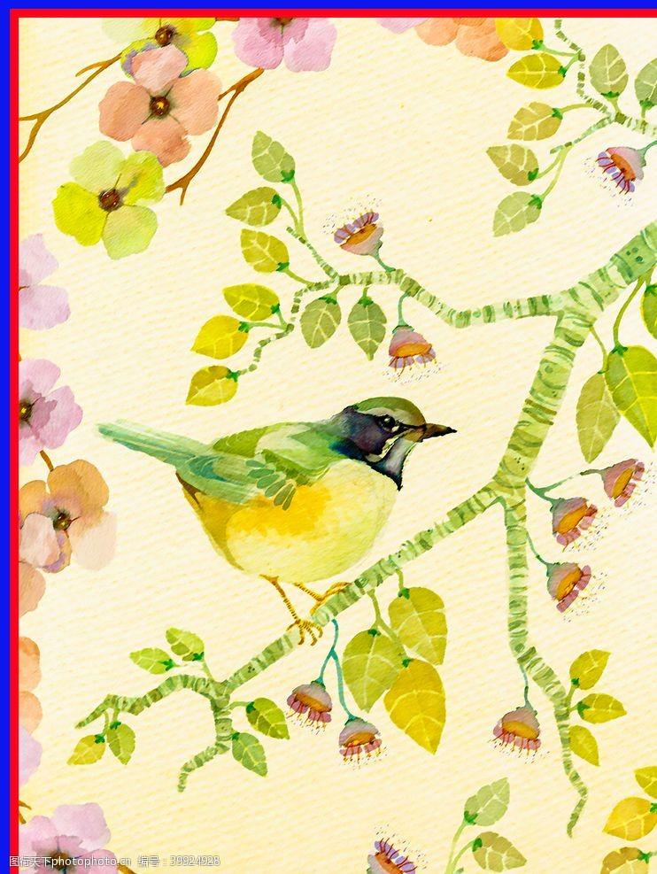 线稿手绘植物鸟类图片
