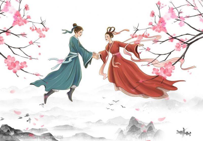 牛郎织女新中式装饰画图片