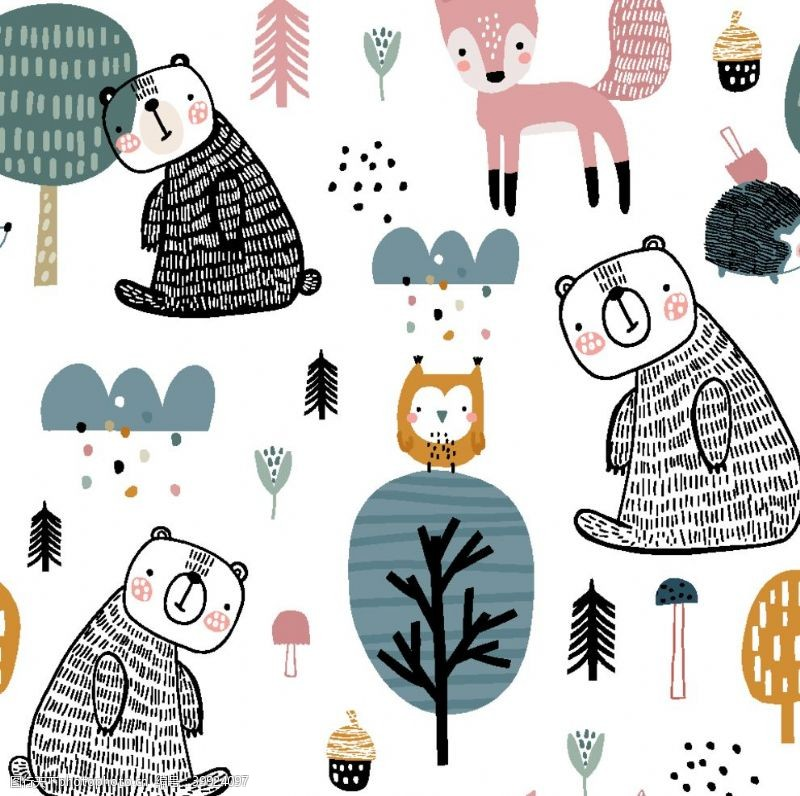 卡通图案熊狐狸图片