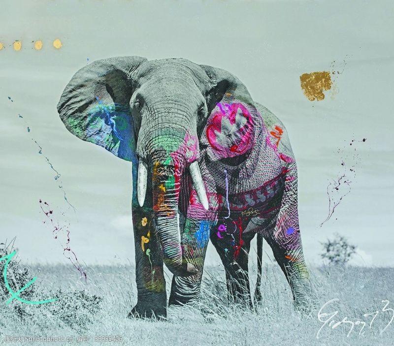 草地上的大象涂鸦画装饰背景图图片