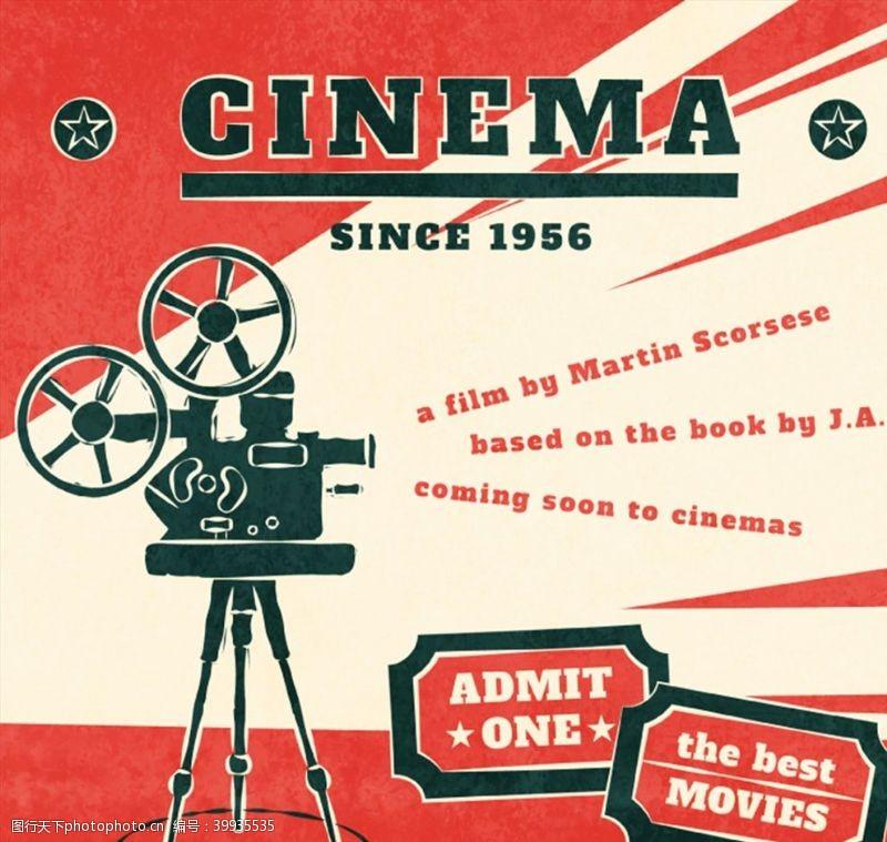 电影放映机海报图片