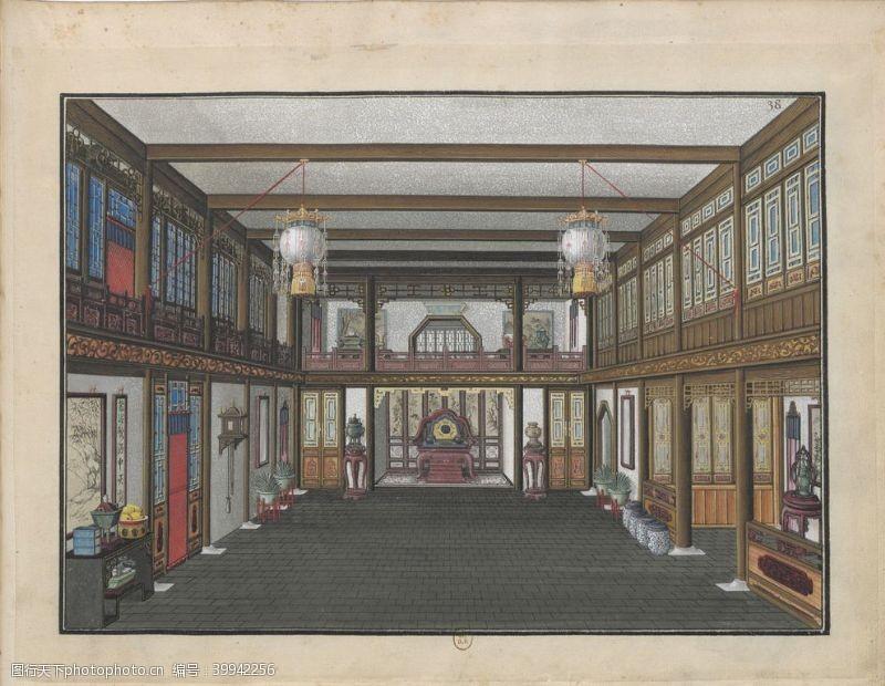 瓦片古代室内图片