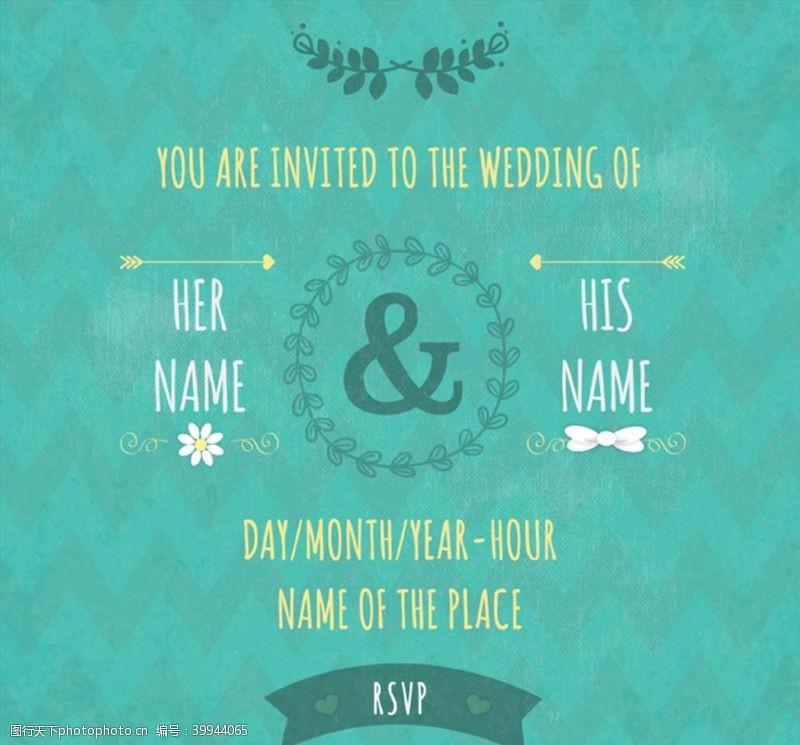 绿色花纹婚礼邀请海报图片