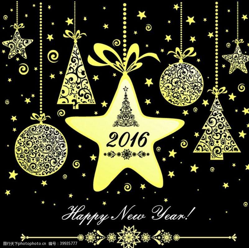 圣诞树金色挂饰新年贺卡图片