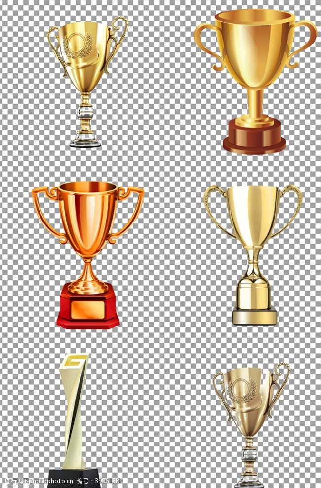质感金色奖杯图片