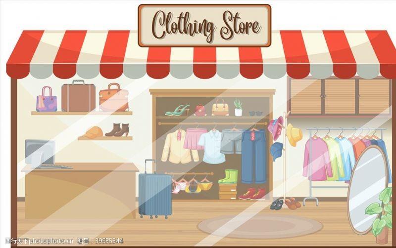 卡通背景卡通服装店图片