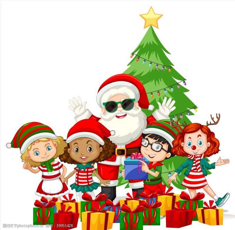 儿童素材卡通圣诞儿童图片