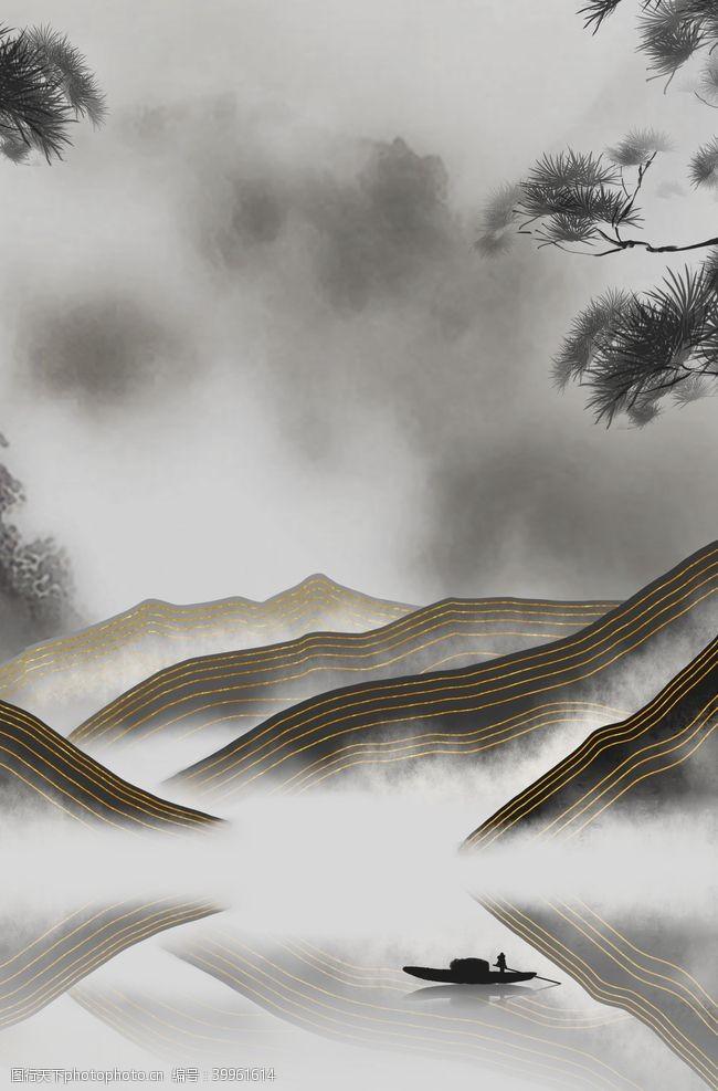卧室山水画图片