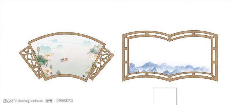 矢量边框中式扇形边框图片