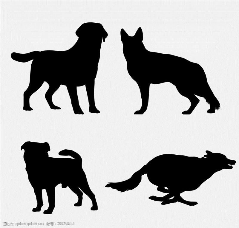 宠物狗剪影矢量图片