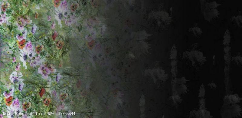 小花单边定位花图片