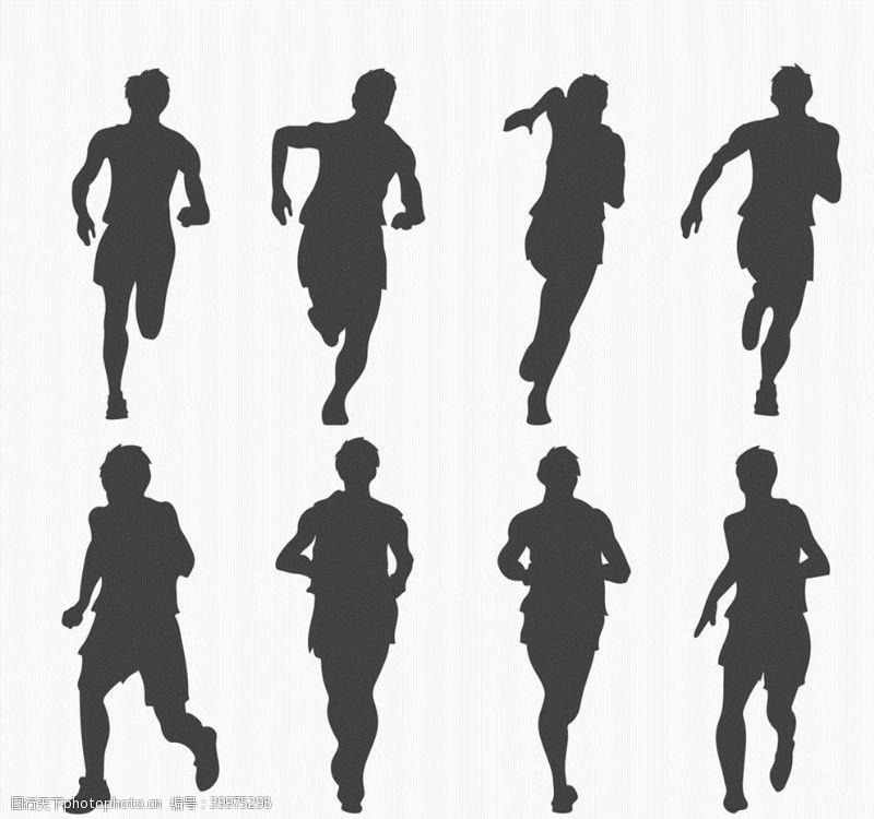 跑步动感赛跑人物剪影图片