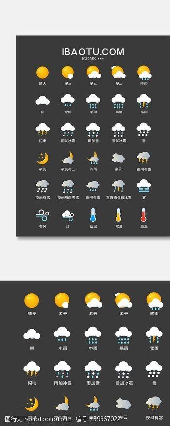 图标多色简洁天气手机通用矢量UI图片