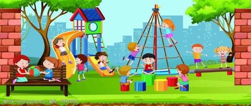 北欧装饰画儿童游乐园图片