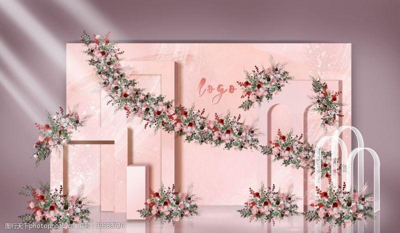 小花粉色婚礼迎宾区图片