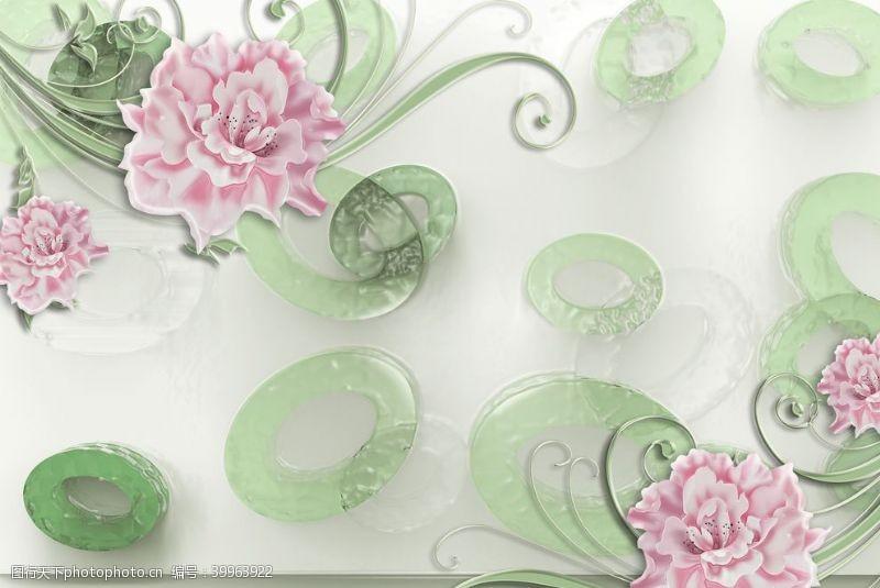 蝴蝶花卉背景墙图片