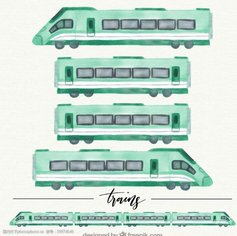款水彩绘火车图片