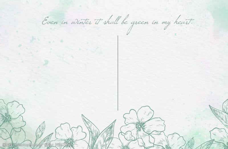 绿色水彩绘花卉背景矢量图片