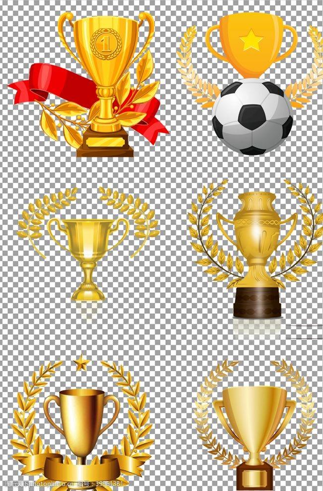 质感麦穗围绕的奖杯图片