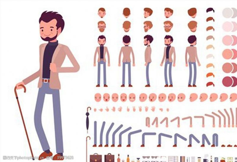 肢体拿拐杖的商务男性图片