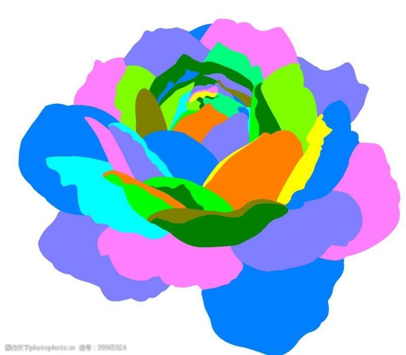 彩色山茶花模子图片