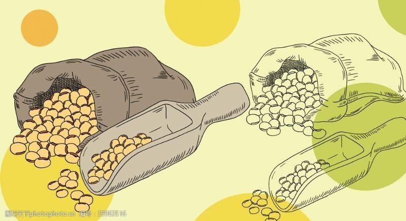 餐饮美食手绘卡通大豆手绘插画海报图片