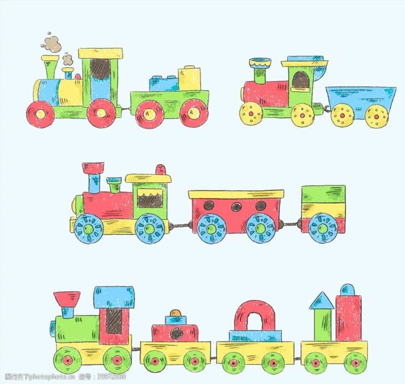 积木手绘玩具火车图片