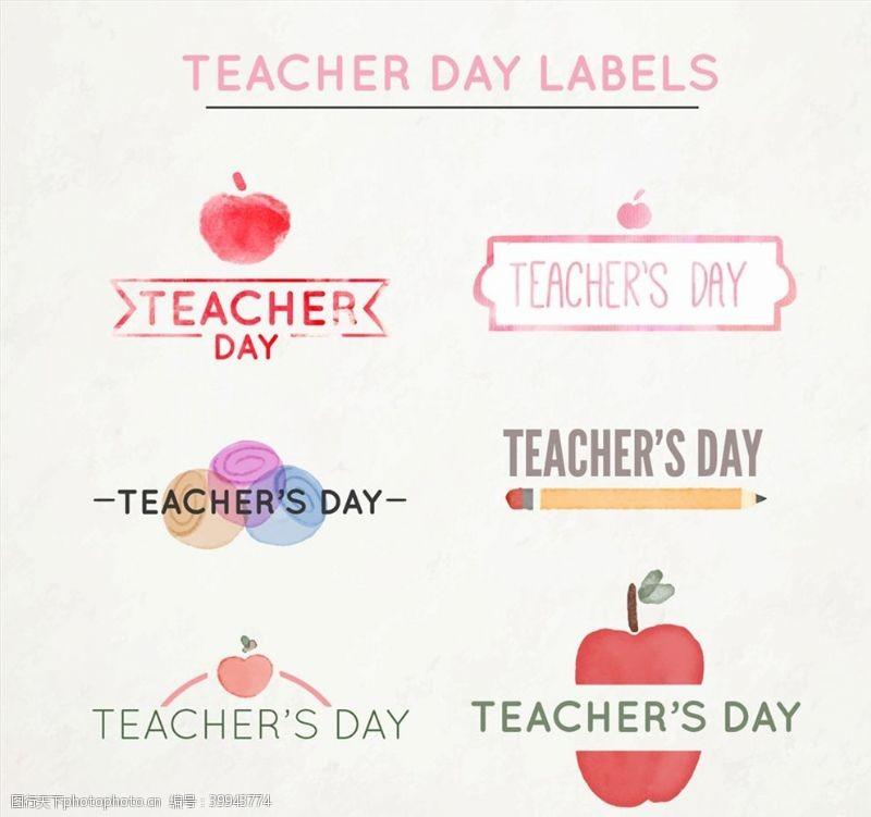 红苹果水彩绘教师节标签图片