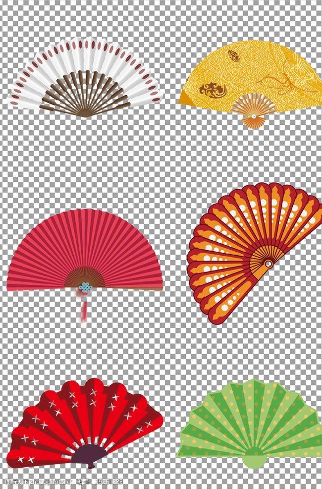 彩色跳广场舞扇子图片