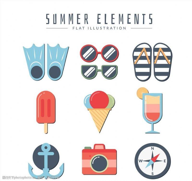 太阳镜夏季元素矢量图片
