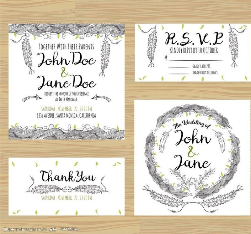 羽毛婚礼卡片图片