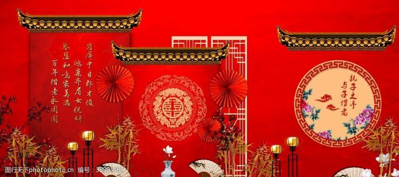 30dpi中式婚礼背景舞台图片