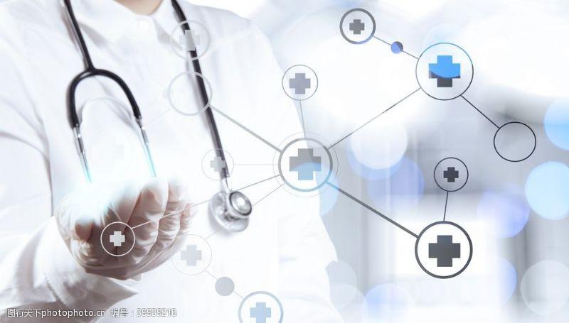 作为散景接触智能医疗医生手显示图片