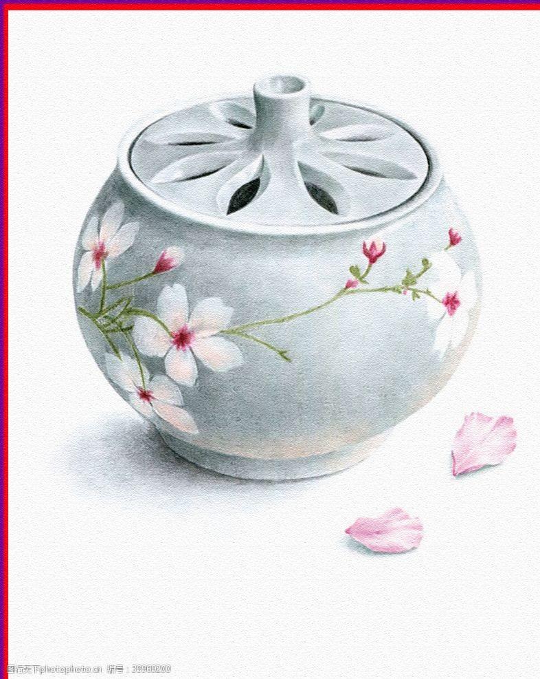 卡通房子茶壶手绘图片