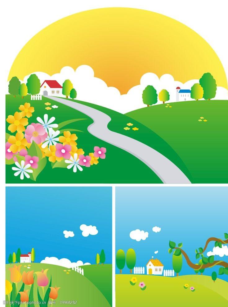 春天展架春天景色图片