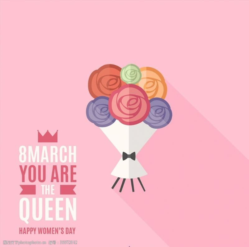 38妇女节妇女节玫瑰贺卡图片