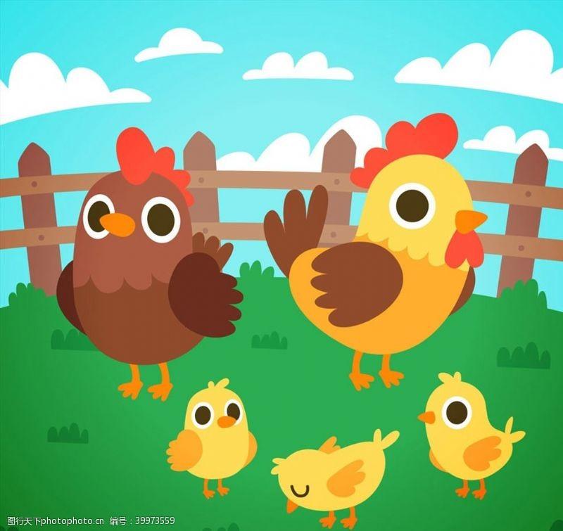 卡通鸡家庭矢量图片