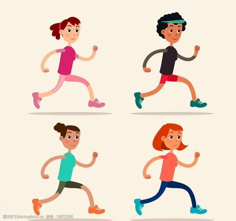 卡通跑步女子图片