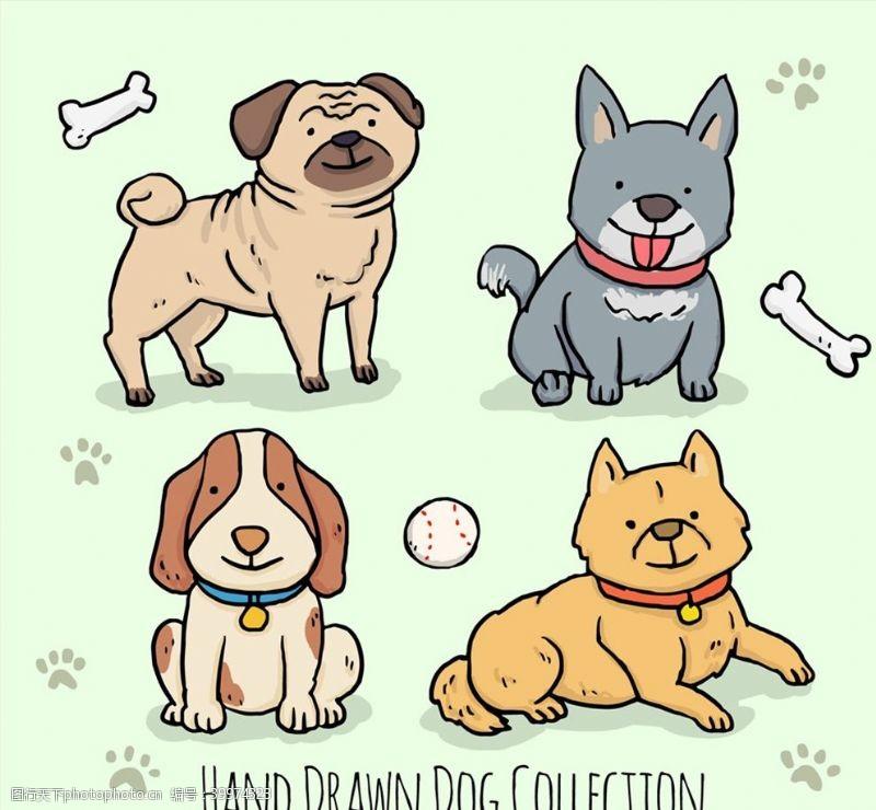 可爱宠物狗矢量图片