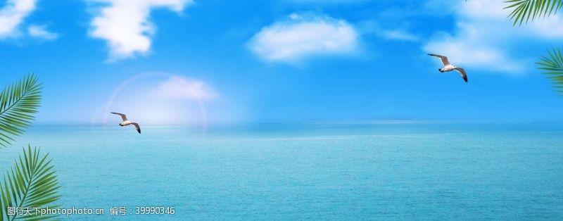 蓝色大海背景海报图图片