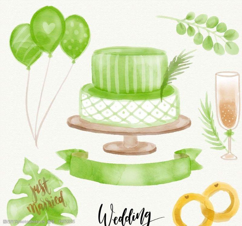 绿色婚礼元素图片