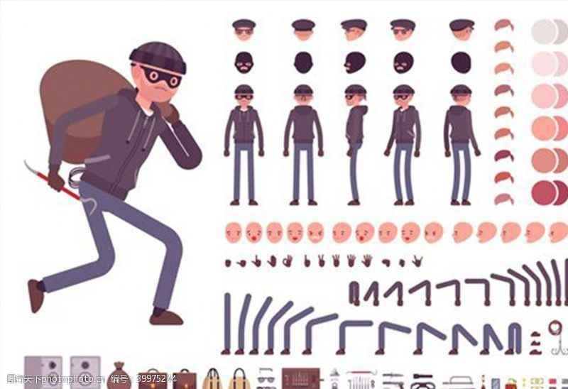 肢体男小偷矢量图片