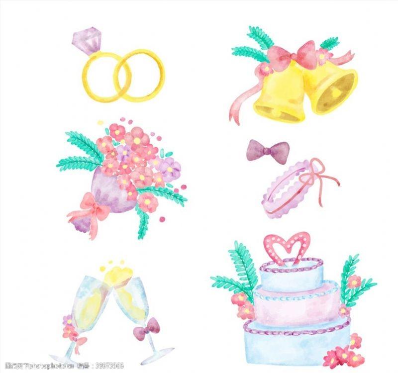 水彩绘婚礼元素图片