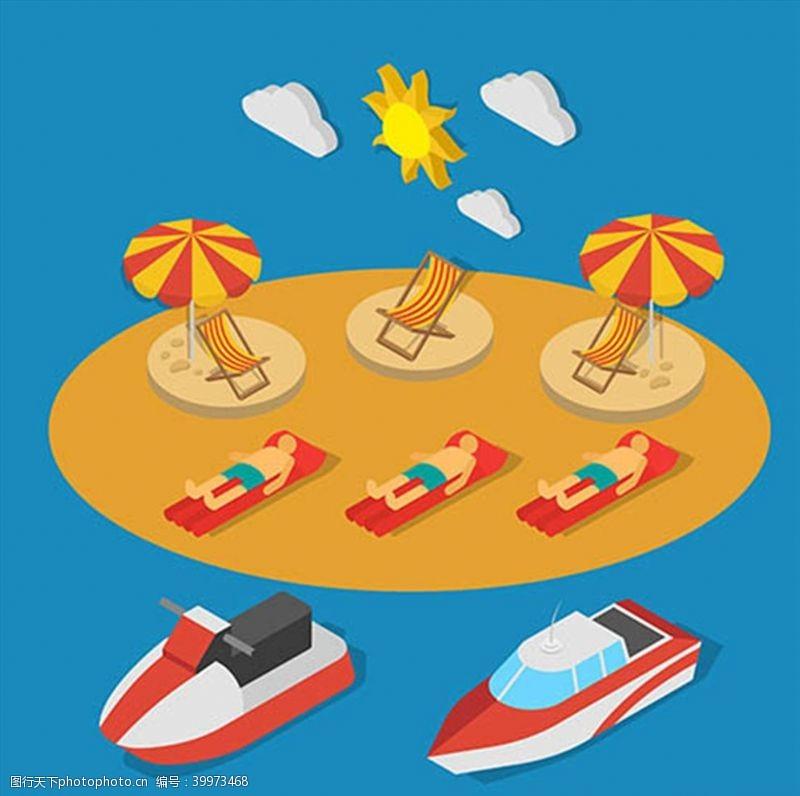 沙滩椅夏季沙滩渡假元素图片