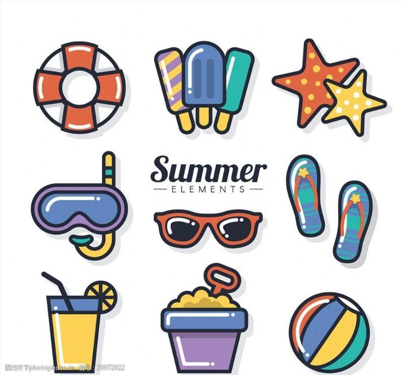 太阳镜夏季物品元素图片