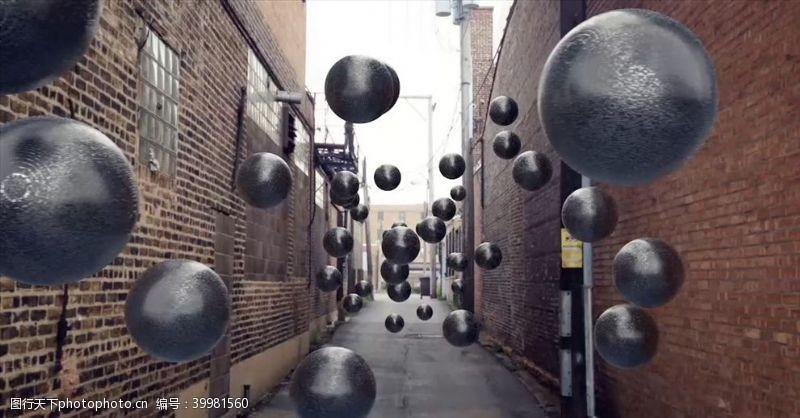 C4D模型动画天空中漂浮的球图片