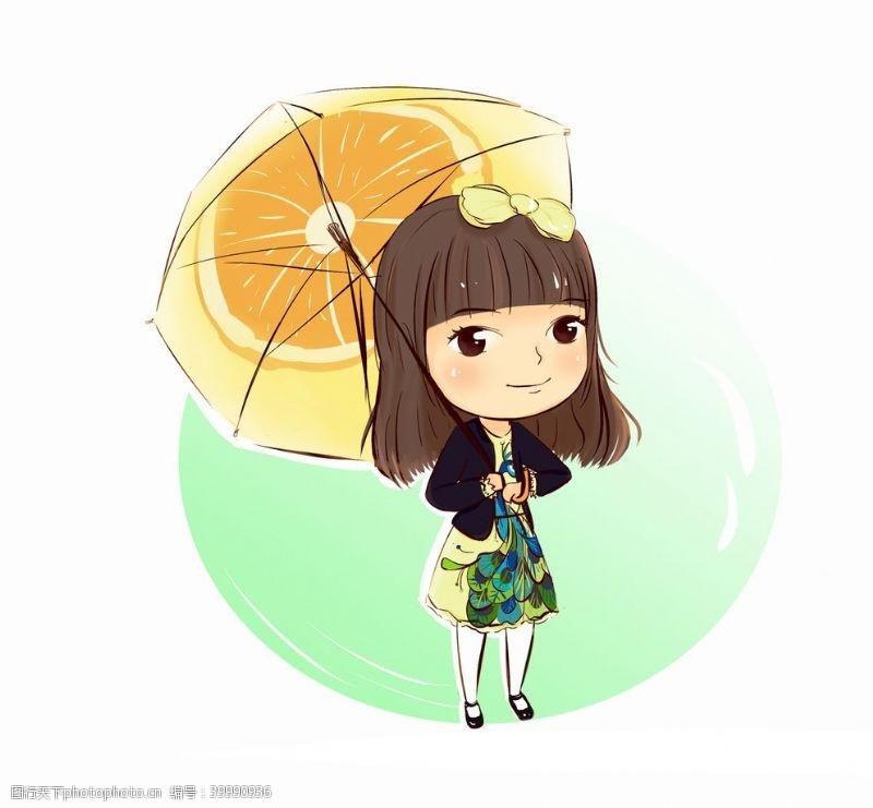 矢量插画撑伞的女生卡通图片